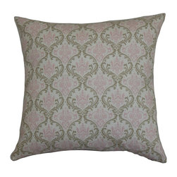"The Pillow Collection - Paulomi Damask Pillow Green Pink 20"" x 20"" - Sensational and artistic, this decor pillow is the perfect statement piece for your living space. A traditional damask pattern in shades of muted green and soft pink creates a lavish detail on the accent pillow. Place this 20"" pillow on your sofa, bed or seat to lend a sophisticated style. This square pillow is made of 100% high-quality and soft cotton fabric. Hidden zipper closure for easy cover removal.  Knife edge finish on all four sides.  Reversible pillow with the same fabric on the back side.  Spot cleaning suggested."