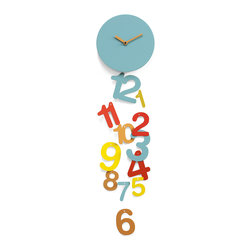 Progetti - Line 2245 Orange/Blue Wall Clock - Line is a wall clock in a young and carefree design ��_ so carefree as to ���lose�۪ time. In fact, the numbers, in various sizes and colors, fall from the central body hanging by a thread. A cheerful clock that is ideal for young surroundings or children�۪s rooms. Battery quartz movement. Available in Light Blue, Orange and Yellow or Light blue, White and Green.