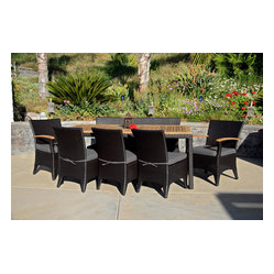 Arbor 9-Piece Modern Patio Dining Set, Charcoal Cushions