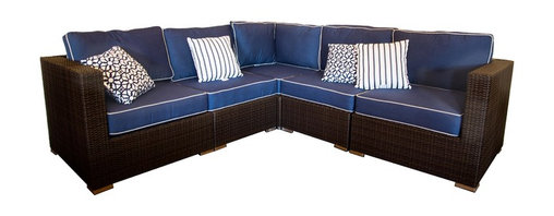 All Backyard Fun - Terrace Collection Wicker L-Shaped Sectional Sofa Patio Furniture - Join the fun and relax in with the L shaped sectional patio sofa! This sectional includes 5 modular sections.  Move the pieces  around  so you can create a functional outdoor space for your deck or patio. The modular sectional pieces allow for comfortable seating around any of our Oriflamme gas fire pit tables.  No assembly required. Each piece is  designed with a full aluminum frame for additional strength that will allow your furniture to last for years.
