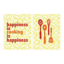 Kitchen Print Set - Happiness Is Cooking with a Set of 2 in 8x10 - This set of 2 8x10 prints is for all those who love cooking and find joy and take pride in their kitchen. This print set will cheer up any walls and add color to any kitchen.