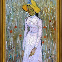 """Vincent Van Gogh-16""""x24"""" Framed Canvas - 16"""" x 24"""" Vincent Van Gogh Young Girl Standing Against a Background of Wheat framed premium canvas print reproduced to meet museum quality standards. Our museum quality canvas prints are produced using high-precision print technology for a more accurate reproduction printed on high quality canvas with fade-resistant, archival inks. Our progressive business model allows us to offer works of art to you at the best wholesale pricing, significantly less than art gallery prices, affordable to all. This artwork is hand stretched onto wooden stretcher bars, then mounted into our 3"""" wide gold finish frame with black panel by one of our expert framers. Our framed canvas print comes with hardware, ready to hang on your wall.  We present a comprehensive collection of exceptional canvas art reproductions by Vincent Van Gogh."""