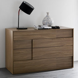 Rossetto - Rossetto | Square Walnut Four-Drawer Dresser - Made in Italy by Rossetto.The Square Walnut Four-Drawer Dresser features minimalist styling and a warm wood finish. Spacious drawers provide convenient bedroom storage while the absence of knobs or pulls maintains the refined, modern aesthetic. Each drawer front features a recessed panel that enhances the natural grain of the walnut.The Square Walnut Four-Drawer Dresser sits low to the ground, maximizing storage space. Made with solid wood construction, it has full-extension drawer glides for easy access to contents.