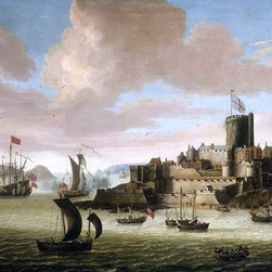 "Jacob Knyff An English Ship and other Shipping off Castle Cornet Print - 14"" x 28"" Jacob Knyff An English Ship and other Shipping off Castle Cornet, Guernsey premium archival print reproduced to meet museum quality standards. Our museum quality archival prints are produced using high-precision print technology for a more accurate reproduction printed on high quality, heavyweight matte presentation paper with fade-resistant, archival inks. Our progressive business model allows us to offer works of art to you at the best wholesale pricing, significantly less than art gallery prices, affordable to all. This line of artwork is produced with extra white border space (if you choose to have it framed, for your framer to work with to frame properly or utilize a larger mat and/or frame).  We present a comprehensive collection of exceptional art reproductions byJacob Knyff."