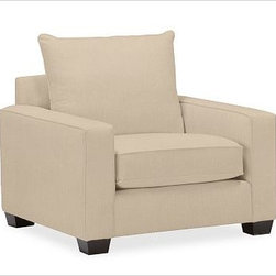 """PB Comfort Square Upholstered Grand Armchair Knife-Edge, Down-Blend Wrap Cushion - Built by our own master upholsterers in the heart of North Carolina, our PB Comfort Square Upholstered Grand Armchair is designed for unparalleled comfort with deep seats and three layers of padding. 42.5"""" w x 42"""" d x 39"""" h {{link path='pages/popups/PB-FG-Comfort-Square-Arm-4.html' class='popup' width='720' height='800'}}View the dimension diagram for more information{{/link}}. {{link path='pages/popups/PB-FG-Comfort-Square-Arm-6.html' class='popup' width='720' height='800'}}The fit & measuring guide should be read prior to placing your order{{/link}}. Choose polyester wrapped cushions for a tailored and neat look, or down-blend for a casual and relaxed look. Choice of knife-edged or box-style back cushions. Proudly made in America, {{link path='/stylehouse/videos/videos/pbq_v36_rel.html?cm_sp=Video_PIP-_-PBQUALITY-_-SUTTER_STREET' class='popup' width='950' height='300'}}view video{{/link}}. For shipping and return information, click on the shipping tab. When making your selection, see the Quick Ship and Special Order fabrics below. {{link path='pages/popups/PB-FG-Comfort-Square-Arm-7.html' class='popup' width='720' height='800'}} Additional fabrics not shown below can be seen here{{/link}}. Please call 1.888.779.5176 to place your order for these additional fabrics."""