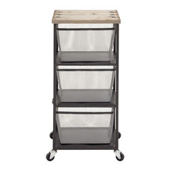 Compact and Simple Metal Wood Storage Trolly - Description:
