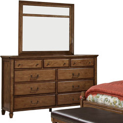 American Drew - American Drew Americana Home Dresser with Mirror in Warm Oak - Dresser w/ Mirror in Warm Oak belongs to Americana Home Collection by American Drew Americana Home is a casual, life style grouping with an eclectic mix of design elements and materials. This collection is truly inspired by American and iconic destinations from coast to coast. Americana Home captures design elements from country, lodge, cottage, coastal and even more urban loft/industrial looks. This unique collection brings a sense of timeless and comfortable places that span from the coast to the mountains of America. The Neutral pallet offered by the simplistic styling and casual finish allow this collection to take own many design trends and consumer's personal flavor. Americana Home will be at home in almost any setting. Dresser (1) , Mirror (1)