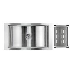 "AKDY - AKDY 34"" AK-T001 Stainless Steel Top Mount Kitchen Sink - AKDY 34"" top mount 16 gauge high quality stainless steel hand made kitchen sink w/ heavy duty sound deadening pads; single bowl"