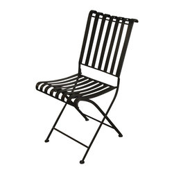 4D Concepts - Rounded Metal Folding Chair - Crafted rounded top slotted heavy duty metal folding chair. Feet on the chairs come with a plastic insert that keep the chair from damaging the floor when being moved. Clean with a dry non abrasive cloth. Metal finished in a rich powder coated brown which gives it a distinct look. Constructed of Metal and Stone. Assembly required.