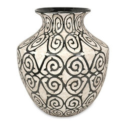 "IMAX - Benigna Oversized Wide Floor Vase - With a muted bronze pattern raised from a cream finished bodice, the wide Benigna oversized floor vase has a sophisticated and luxurious appeal. Item Dimensions: 21""h x 17.75""w x 17.75"")"