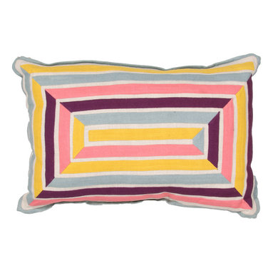 """Jaipur Rugs - Yellow/Pink color cotton encasa08 poly fill pillow 16""""x24"""" - En Casa is the design collection of Cuban born, Queens, NY raised painter and surface designer, Luli Sanchez. This collection is based off of her painterly works of art that capture an organic and moody yet optimistic spirit. Her geometric paintings were truly inspiring for this pillow collection."""