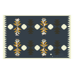 Domestic Construction - Paper Dome Floor Mat, Small - The triangular pattern on this mat is reminiscent of traditional Navajo rugs, though this one makes sure to add its own special characteristics too. (Is that a sketch of a geodesic dome in the corner?) You'll love the deep navy paired with white and ochre tones, and the rubber backing ensures you won't slide all over the place.