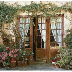 Manual - Twenty-Four Pots Woven Tapestry Wall Hanging 70 Inch x 50 Inch - This woven tapestry wall hanging measures 70 inches wide, 50 inches long, and depicts the back porch of an Italian villa, with 2 dozen clay pots full of plants and flowers. It makes a great gift.