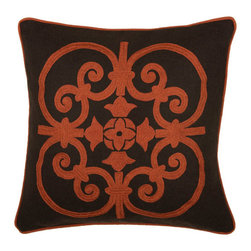 Rizzy Rugs - Rizzy Home Rust 18 Inch x 18 Inch Pillow Cover with Hidden Zipper - - Pillow Cover with Hidden Zipper  - Felt Fabric  - Embroidered and Welt Details  - Primary Color - Rust  - Secondary Color - Brown  -  Spot Clean. Dry Clean Rizzy Rugs - T03827