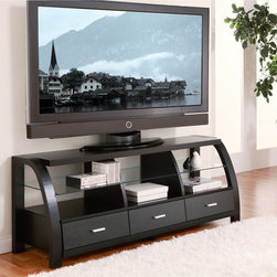 Furniture of America - Furniture of America Grove Black 60-inch 3-drawer TV Entertainment Cabinet - Materials: Wood,veneer,MDF,glassFinish: BlackThree (3) drawers