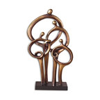 Uttermost - Family Connections Dark Bronze Sculpture - This family connection is strong and secure even though they have holes in their stomachs. Made of distressed dark bronze metal with burnished details this is a stunning piece for your home. In your entryway, it lets everyone know relationships are important.