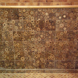 Mu Wood, Kura Bamboo - Falling Water Cross Cut, Mosaic 1 x 1, Small Border - Color: Honey Pine with Kura Marron 2 x 4, 4 x 4