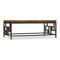 "Hooker Furniture - Hooker Furniture Socorro Rectangle Cocktail Table - This refined collection is crafted with wormy pine solids with railroad ties and tempered glass and metal. Wormy Pine Solids with Railroad Ties and Tempered Glass and Metal. Dimensions: 52""W x 30""D x 20""H."