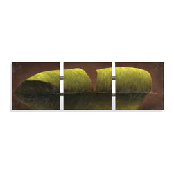 Bassett Mirror - Bassett Mirror Hand-Painted Canvas, Tri-Banana Leaf - This tri-panel oil painting of a single green banana leaf effortlessly combines the natural beauty of island foliage with the contemporary artistic style of split-canvas art.  The linked horizontal panels feature a dark brown background color, which contrasts with the brilliance of the green banana leaf creating a tropical, yet refined piece that is sure to garner attention.