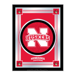 "Holland Bar Stool - Holland Bar Stool Nebraska Logo Mirror - Nebraska Logo Mirror belongs to College Collection by Holland Bar Stool The perfect way to show your school pride, our logo mirror displays your school's symbols with a style that fits any setting.  With it's simple but elegant design, colors burst through the 1/8"" thick glass and are highlighted by the mirrored accents.  Framed with a black, 1 1/4 wrapped wood frame with saw tooth hangers, this 17""(W) x 22""(H) mirror is ideal for your office, garage, or any room of the house.  Whether purchasing as a gift for a recent grad, sports superfan, or for yourself, you can take satisfaction knowing you're buying a mirror that is proudly Made in the USA by Holland Bar Stool Company, Holland, MI.   Mirror (1)"