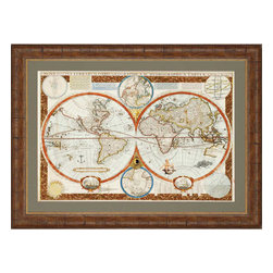 Paragon - Ornamental World Map - Framed Art - Each product is custom made upon order so there might be small variations from the picture displayed. No two pieces are exactly alike.