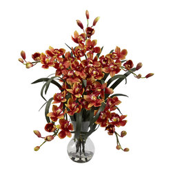 """Nearly Natural - Large Cymbidium w/Vase Arrangement - There's no two ways around it - this Large Cymbidium w/Vase is one of our most beautiful reproductions. Standing a full 34"""" high (and 30"""" wide) this Cymbidium makes a bold decorative statement. Yet this proud display is softened by the delicate blooms and soft buds, which reach in every direction. A glass vase (complete with faux water) round out this masterpiece."""