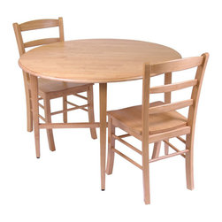 "Winsome - Winsome Hannah Casual 3 Piece Dining Set in Light Oak - Winsome - Dinette Sets - 34342 - Casual and versatile this dual side drop leaf table offers a refreshing alternative to home decor. Finished in a light oak finish this round table measures 42"" across and has dual-side drop leaves. Add this great set to your home to add a subtle and contemporary update to your decor."