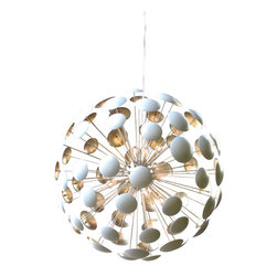 Solaria Lighting - Bilbao Silver Leaf Chandelier - White Enamel with Silver Leaf