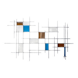 "Karo Studios - Glass and Metal Wall Sculpture ""Gridded"" - My work consists of pieces of custom made art glass which is meticulously placed over a metal welded grid at various elevations. The overall compositions are inspired by some of my previous architectural blueprints and abstracted to give the pieces their multi-dimensional quality. The sleek look of the glass gives my work a very modern yet elegant character."