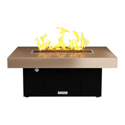 COOKE - Santa Barbara Rectangular Fire Pit Table - Beige Top, Black Base, Black Base, Na - We know it is hard to find that big bold look at a small price point and still have a quality product so we took styling from our designer collection and brought it to our So Cal line so we could offer just that!