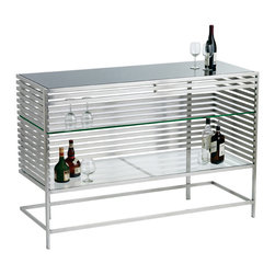 Nuevo Living - Delfina Bar Buffet - Sleek, brushed stainless steel bars give this buffet a smooth, urban masculinity that's just right for a liquor station. Use the top to pour drinks and store supplies on the glass shelves inside. You can face the shelves out to display your glassware and bottles or let them sparkle tantalizingly through the metal bars. The cool metal picks up your mood lighting and adds a clean brightness to the room.