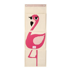 3 Sprouts - 3 Sprouts Wall Organizer, Flamingo - Our pink hanging wall organizer in Flamingo pattern is the perfect solution for clearing all those small pieces that add up to one big mess. This product is perfect gift for babies and toddlers. The item is made up of 100% cotton canvas.