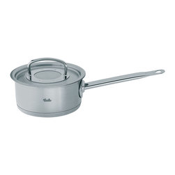 """Fissler - Original Pro Collection Saucepan with Lid, 2.6L - Originally developed by professionals for professionals, the Original Pro Collection is the perfect cooking equipment for everyone who values uncompromising quality, attractive design, and superior functions. It is a design classic and international best-seller made from heavy gauge, hygienic 18/10 stainless steel and its beautiful brushed stainless steel finish provides the ultimate resistance to water spots, staining, and scratching. Professional cooks from around the world have been using this cookware for over 30 years, and even Nigella Lawson finds its looks and durability help her to be a """"Domestic Goddess"""". The fully encapsulated CookStar all-stove base, which is comprised of a pure aluminum core and high-quality 18/10 stainless steel, ensures that the base that will never separate or warp. The energy-saving base also provides quick optimal heat distribution, diffusion, and storage without any hot spots. Safe for induction stoves. The Original Pro Collection is equipped with true stay-cool handles that are large for easy handling, and fastened using high-strength welding, permitting a hygienic stainless steel interior free of rivets which collect food and particles. Now you can have the look of riveted handles without the mess. The long stay-cool handles are light and comfortable to hold. All the handles are fixed to stay on for a lifetime. The cleverly designed lids are tight fitting, making it ideal to not only cook with little or no water but to ensure that all the flavour of the food gets sealed in. They offer the innovative condensate-plus function. condensation drips right onto the food from the center of the lid, making it tastier and juicier. In addition, ice cubes can be placed on the center of the lid to accelerate the condensation process. Each piece is fully oven-safe and dishwasher-safe, providing an added measure of versatility in the kitchen. The pouring rim on all the cookware allows """