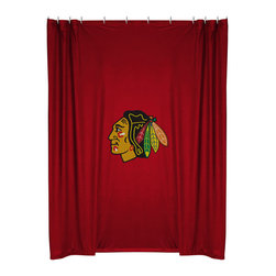 Sports Coverage - NHL Chicago Blackhawks Shower Curtain Bathroom Accessories - Features: