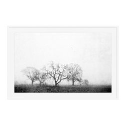 """Lupen Grainne Framed Print, Black & White Fog and Trees, Mat, 28 x 42"""", White - The unity and diversity of an oak tree's bare winter branches stand in stark relief against a wide foggy sky. A study in natural patterns, the distant trees take on the look of coral, as multifaceted as snowflakes. 13"""" wide x 11"""" high 20"""" wide x 16"""" high 42"""" wide x 28"""" high Alder wood frame. Black or white painted finish; or espresso stained finish. Beveled white mat is archival quality and acid-free. Available with or without a mat.{{link path='shop/accessories-decor/pb-artist-gallery/artist-gallery-lupen-grainne/'}}Get to know Lupen Grainne.{{/link}}"""