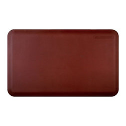 Wellnessmats - Wellness Mats Anti-Fatigue Kitchen / Bathroom Mat 3' x 2' - Burgundy - Advanced Polyurethane Technology (APT); only available from Welnessmats. Engineered to be tougher, with a strong grip textured surface; heat and stain resistant'No slip, no trip' edges ensure your well being and safety; does not loseThick elastomeric core permanently bonded to outer layer made of polyurethane molecules. Use for kitchens, washrooms, laundry rooms, garage, hobby-room, home gym, etc.  Made in the USA. 7-year warranty.