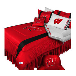 Store51 LLC - NCAA Wisconsin Badgers Bedding Set College Football Bedding Set, King - Features: