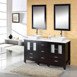 Virtu USA Bradford 60 Inch Double Sink Bathroom Vanity in Espresso -