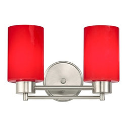 Design Classics Lighting - Modern Bathroom Light with Red Glass in Satin Nickel Finish - 702-09 GL1008C - Contemporary / modern satin nickel 2-light bathroom light. Takes (2) 100-watt incandescent A19 bulb(s). Bulb(s) sold separately. UL listed. Damp location rated.