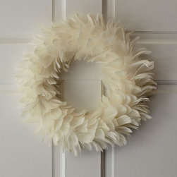 Feather Wreath, White - A real feather wreath is elegant for the holidays, and year-round display. It comes in natural, too.