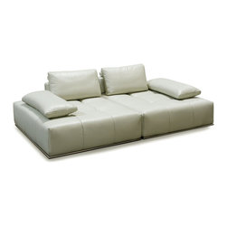 Diamond Sofa - Skyline 2PC Lounger with Adjustable Backrests by Diamond Sofa - The Skyline Collection by Diamond Sofa is a sleek, low profile sit that lets you lean back and relax in lavish comfort and style. Extra-wide loose arm cushions provide an extra dose of softness, great for lying down at any hour of the day. Adjustable Backrests let you change the depth of the sit depending on the mood or events at hand.  Topped with plush cushioning, this collection is bursting with straight lines, cool character and fresh contemporary style.  The 100% top Grain Dark Grey Skyline features a kiln-dried hardwood frame that is glued and reinforced, offers strength, while the zig zag spring suspension base gives you a supple seating that will hold up for years.  The elastic webbing back suspension offers additional stability while allowing for the leather to breathe and maintain its shape.  Tufted seat cushions are comprised of a high density foam cushion wrapped in polyester fibers to ensure a comfortable, relaxing and lasting seat. The metal trim enhances the aesthetic quality of the piece.  Ice, 100% Top Grain Leather lines the entire piece to provide and ensure years of comfort and enjoyment.   Each Skyline Square measures 48 inches wide by 55 inches deep by 31 inches high. 2PC Lounger measures 96 inches wide by 55 inches deep by 31 inches high.