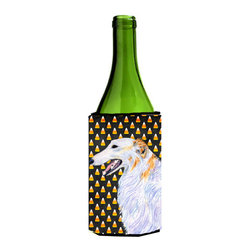 Caroline's Treasures - Borzoi Candy Corn Halloween Portrait Wine Bottle Koozie Hugger - Borzoi Candy Corn Halloween Portrait Wine Bottle Koozie Hugger Fits 750 ml. wine or other beverage bottles. Fits 24 oz. cans or pint bottles. Great collapsible koozie for large cans of beer, Energy Drinks or large Iced Tea beverages. Great to keep track of your beverage and add a bit of flair to a gathering. Wash the hugger in your washing machine. Design will not come off.