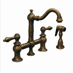 Whitehaus - Whitehaus Whkbtcr3-9206-Bn Vintage Faucet - Vintage III entertainment/prep bridge faucet with short traditional swivel spout, cross handles