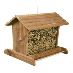 HEATH MFG - 7Lb Bird Feeder - Easy-fill sliding roof, holds mixed or sunflower seed. Side ports allow for more feeding space. For hanging or post mount. Cap Lbs: 7