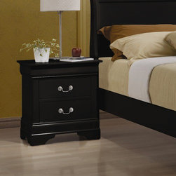 Wildon Home � - Carbon 2 Drawer Nightstand - The perfect companion to your bed, this nightstand has two drawers that are great for storing TV remotes, books, magazines and other small items. Place a lamp on top for convenient nighttime reading, and set down a glass of water for that bedtime drink. Add functional storage next to your bed with this two drawer nightstand. Features: -Traditional style.-Brass metal and silver metal hardware.-Metal drawer guides.-Includes two English dovetail drawers.-Veneers and solid wood construction.-Black finish.-Carbon collection.-Distressed: No.-Collection: Carbon.Dimensions: -Overall Product Weight: 34.1 lbs.