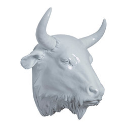 Interior Illusions - Buffalo Head - Make a dramatic statement with this large Buffalo Head wall mount. Handmade with a resin finish and white gloss glaze, this buffalo head is animal friendly and makes an ideal focal point in a living or dining room. Mount it on a wall or display it on a tabletop for a sleek, bold look.