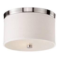 Bromi Design - Bromi Design Braxton 10 Inch Round White and Nickel Drum Pendant - The Braxton collection by Bromi Design inspires modern lines perfect for any location. The Braxton is finished in a white linen shade using the option trims of either black or nickel finish and closed at the bottom using a glass diffuser.
