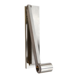Desu Design - Pendulum Door Knocker - Stainless Steel - Desu Design - When it comes to outdoor design, a home's first impression is its entryway – make a statement with a sculptural door knocker. Originally conceived in stately silicon bronze, the Pendulum door knocker is now available in brushed stainless steel for a clean contemporary look. Highlighting the beauty of simple, well-balanced geometric forms, the unadorned Pendulum is as much a work of minimalist art as it is functional hardware. The hefty weight of the handle feels good in your hand, and has slightly recessed sides to intuitively grasp. ThePendulum Door Knocker is designed by David E. Scott of DESU DESIGN in Brooklyn, NY and manufactured in the USA.