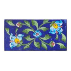 "Knobco - Tiles 3X6""Inch, Turquoise Flower And Blue - Turquoise flower and blue tile from Jaipur, India.  Unique, hand painted tiles for your kitchen or other tiling project.  Tile is 3x6"" in size."