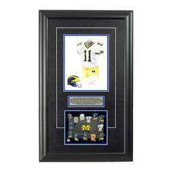 """Heritage Sports Art - Original art of the NCAA 2004 Michigan Wolverines uniform - This beautifully framed NCAA football piece features an original piece of watercolor artwork glass-framed in an attractive two inch wide black resin frame with a double mat. The outer dimensions of the framed piece are approximately 17"""" wide x 28"""" high, although the exact size will vary according to the size of the original piece of art. At the core of the framed piece is the actual piece of original artwork as painted by the artist on textured 100% rag, water-marked watercolor paper. In many cases the original artwork has handwritten notes in pencil from the artist. Simply put, this is beautiful, one-of-a-kind artwork. The outer mat is a rich textured black acid-free mat with a decorative inset white v-groove, while the inner mat is a complimentary colored acid-free mat reflecting one of the team's primary colors. The image of this framed piece shows the mat color that we use (Medium Blue). Beneath the artwork is a silver plate with black text describing the original artwork. The text for this piece will read: This is an original, one-of-a-kind watercolor painting of the 2004 Michigan Wolverines uniform designed to honor the Wistert brothers (Francis, Albert, and Alvin) who all wore the #11 uniform while playing for the Wolverines in the 1930's and 1940's and was used in the creation of this Michigan Wolverines uniform evolution print and thousands of Michigan products that have been sold across North America. This original piece of art was painted by artist Nola McConnan for Maple Leaf Productions Ltd. Beneath the silver plate is a 6.5"""" x 7"""" reproduction of a uniform evolution print that celebrates the history of the team. The print beautifully illustrates the chronological evolution of the team's uniform and shows you how the original art was used in the creation of this print. If you look closely, you will see that the print features the actual artwork being offered for sale. The 6"""